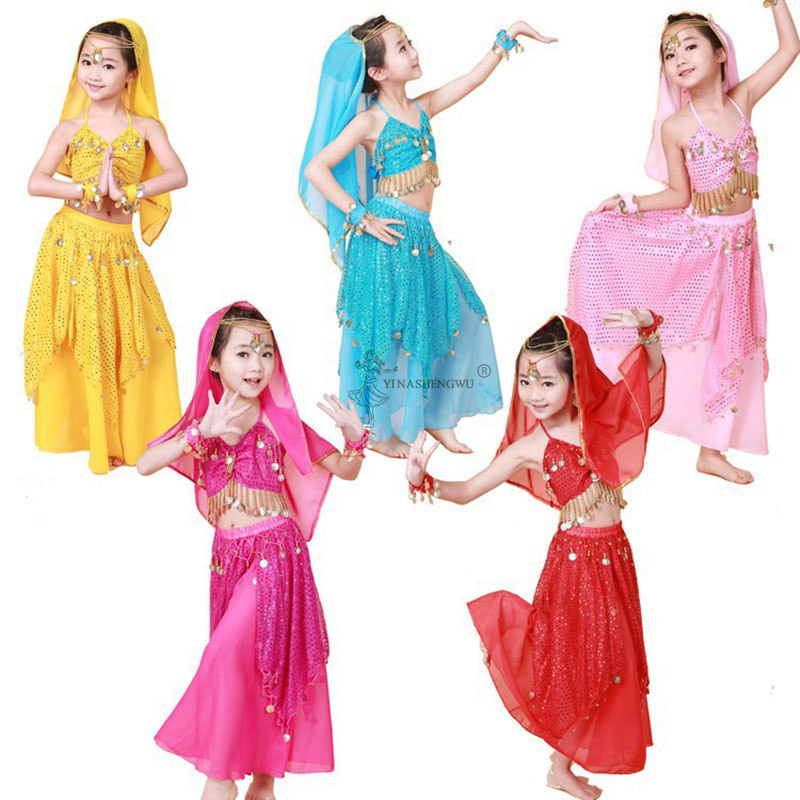 Kids Belly Dance Costume Set Performance Indian Bollywood Oriental Children Dancing Skirt Bellydance Dress Chiffon Clothing 5pcs