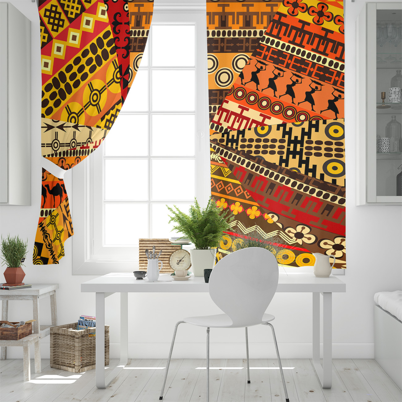 South African Traditional Ethnic Style Curtains Kitchen Decor Items Window Curtains For Living Room Bedroom Curtain Panel Curtains Aliexpress