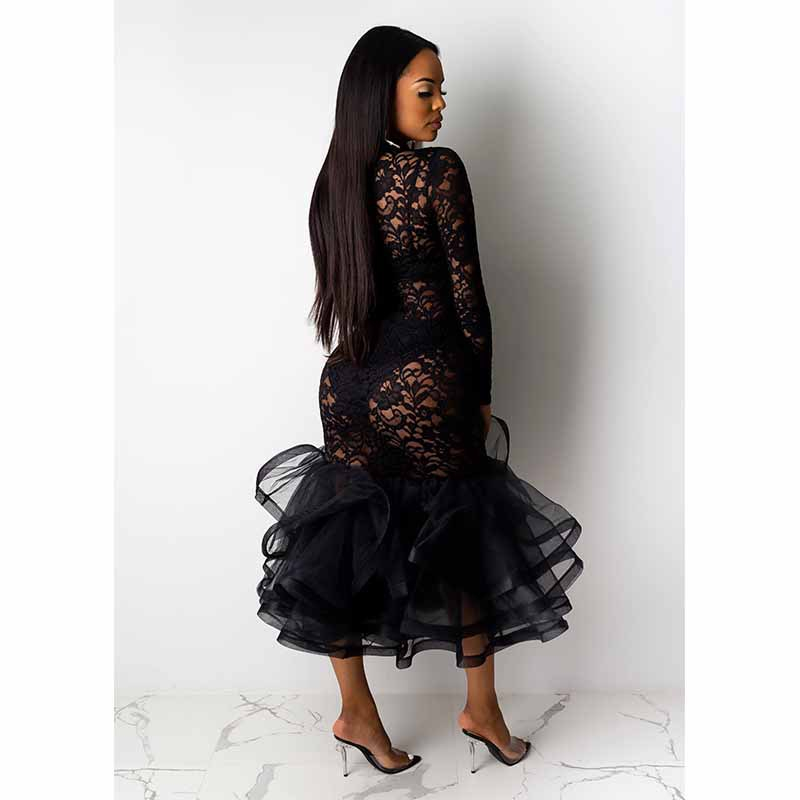 Hdf6f014942a24234a1ead76d1ed860d64 - Black Organza Ruffle Sheer Lace Party Dress Spring Mock Neck Long Sleeve Mermaid Evening Gown Maxi Club Party Dress Vestido