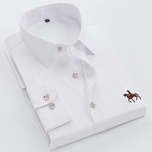 Image 3 - Big size 6XL 100% Cotton Long Sleeved Embroidered Men Shirt Comfortable Slim Mens Dress Shirt 5XL Plus size High Quality Cheap