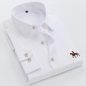 Image 3 - Tamanho grande 6XL 100% Algodão Bordado de Manga Comprida Camisa de Vestido dos homens Camisa Dos Homens Confortável Fino 5XL Plus Size Alta qualidade Barato