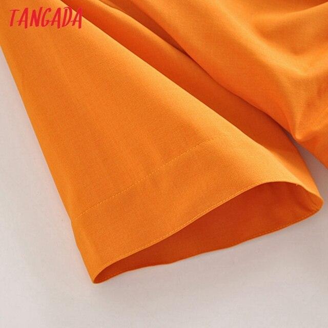 Tangada fashion women solid orange tunic dress short sleeve elegant ladies midi dress vestidos 3H906 4