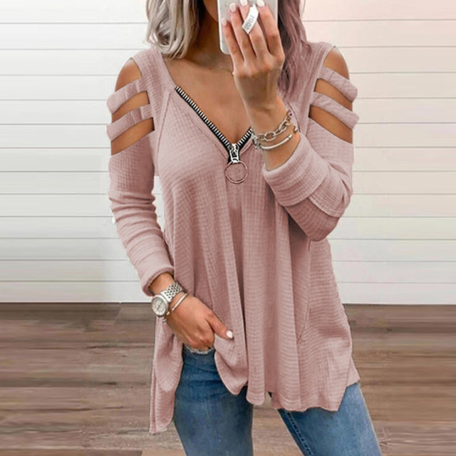 Fashion Chic Hollow Out Long Sleeve Tops Lady Elegant Zip V-Neck Solid Blouses Shirts 2021 Spring Casual Women Blusas Sweatshirt 3