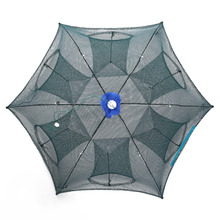 6 Hole Folded Fish Net Portable Automatic Fishing Shrimp Trap Fishing Net for the capture of the eel crab lobster minnow lobster fishing basket creel 3 layer multicolored nylon collapsible drawstring bottom nets cage for shrimp crab lobster outdoor fishing