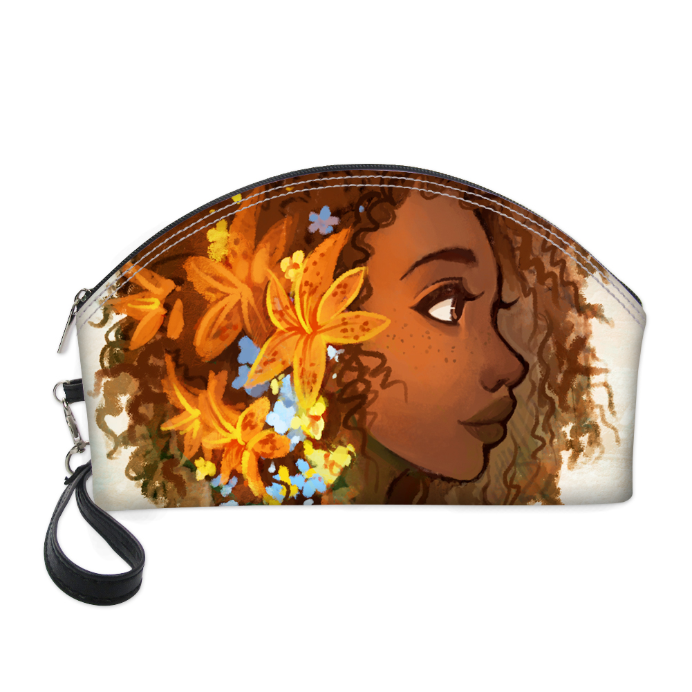 HaoYun PU Cosmetic Cases African Girls Style Printing Pattern Fashion Women Make Up Bags Round Mouth Zipper Mini