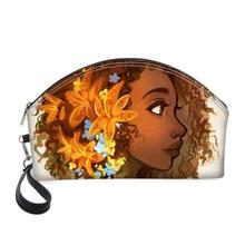HaoYun PU Cosmetic Cases African Girls Style Printing Pattern Fashion Women Make Up Bags Round Mouth Zipper Mini
