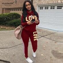 2 Piece Set Women Outfit LOVE Letter Print High Neck Hoodies Sweatshirt Pants Tracksuit 2020 Plus Size Streetwear Casual Suit