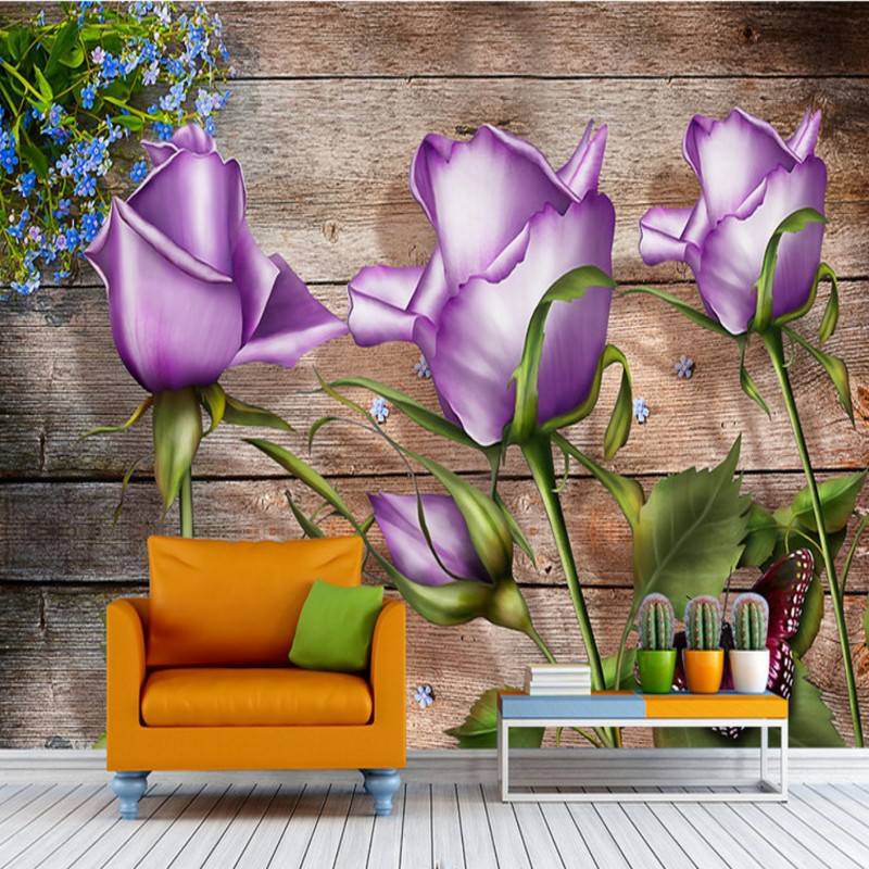 Drop Shipping Custom Photo Wallpaper Purple Rose Wooden Wall Background Custom High Quality Murals Wallpaper Home TV Decorative