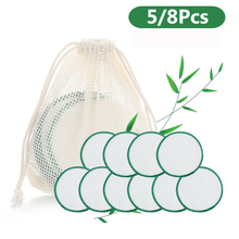 5/8/25Pcs Reusable Bamboo Cotton Pads Washable Makeup Remover Pad Soft Face Skin Cleaner Facial Cleaning Skin Care Beauty Tool