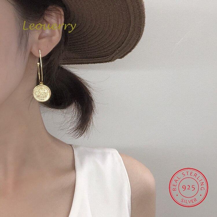 Leouerry 925 Sterling Korean Style Geometric Round Drop Earrings Normcore Women Girls Earrings For Wedding Party Jewelry in Earrings from Jewelry Accessories