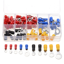 цена на 102pcs/box Ring Crimp Wire Terminal Connector Set Wire Copper Crimp Connector Insulated Ring Terminals