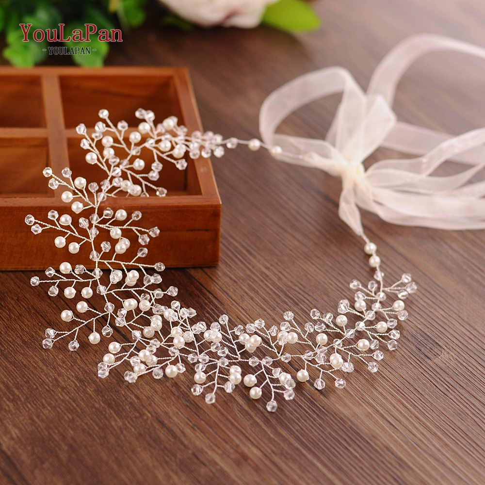 Купить с кэшбэком YouLaPan SH55-S Wedding Belt Bridal Belts with Pearl Wedding Dress Sash Wedding Sash Vine Wedding Accessories Thin Belts