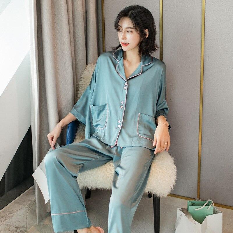 Youhottest 3/4 Sleeves Plain Color Pijama Women Nature Silk Pajamas