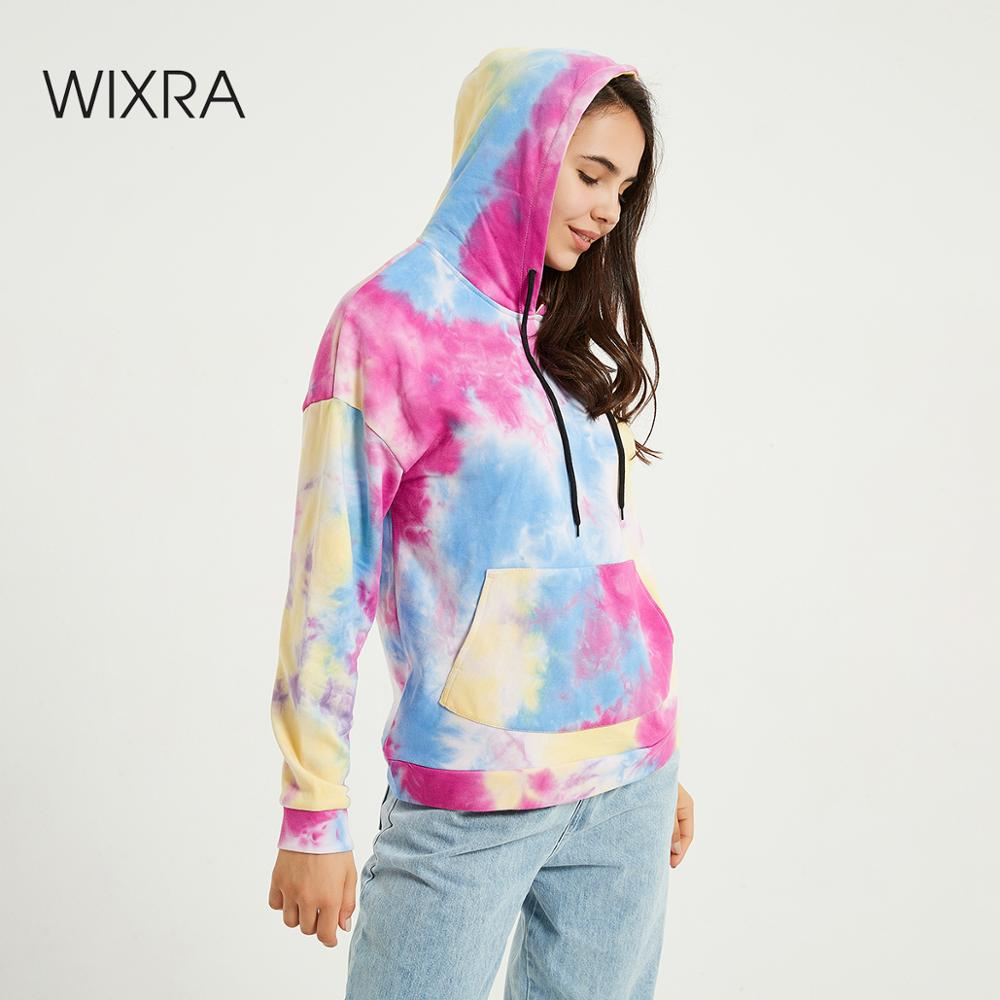 Wixra Womens Tie-dye Sweatshirts Femme New Fashion Hot Hoodies Pocket Long Sleeve Autumn Winter Casual Streetwear Tops 1