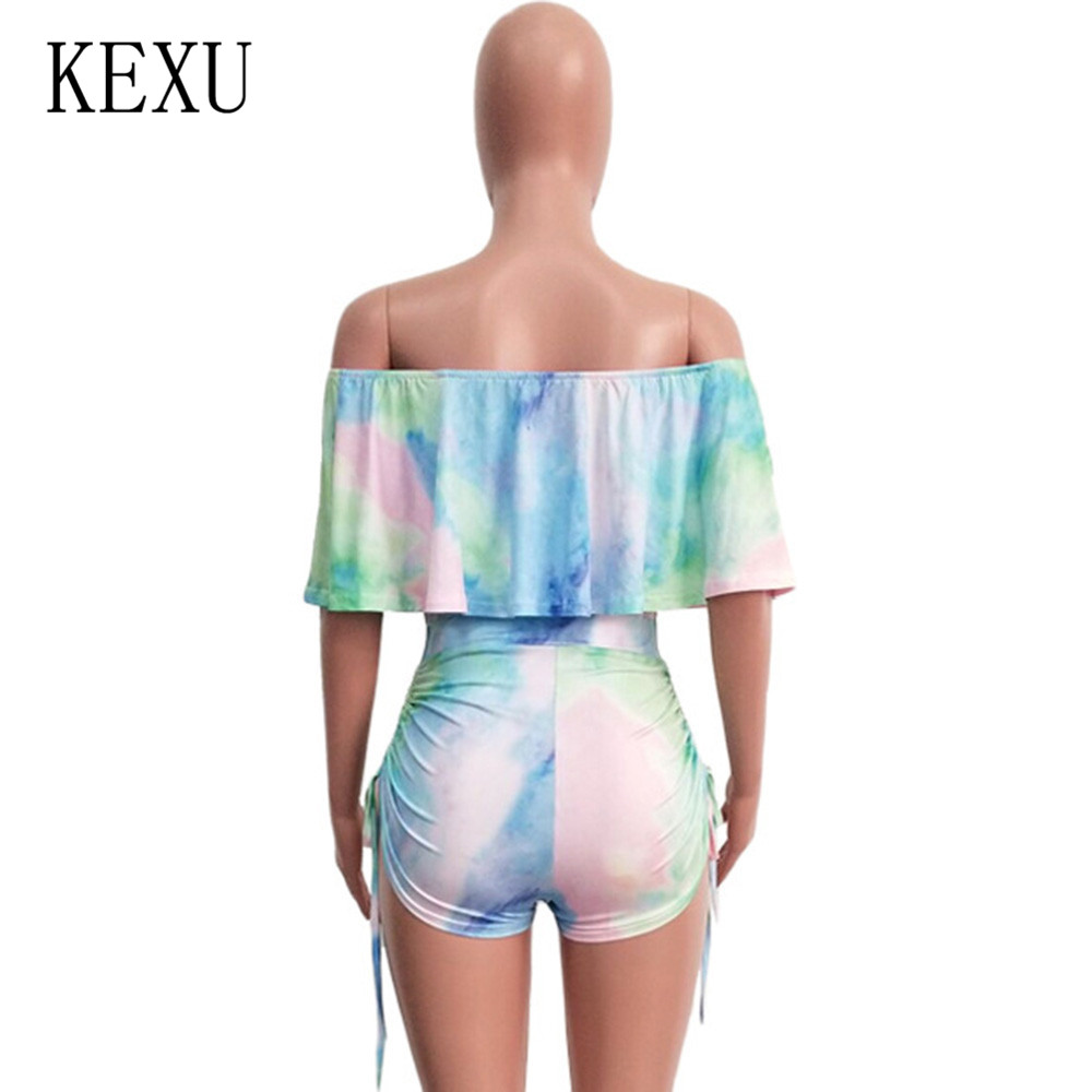 KEXU Summer Sexy Hollow Out Camouflage Printed Ruffled Shorts Straps Drawstring Pants Women Elegant Sleeveless Retro Jumpsuits in Rompers from Women 39 s Clothing