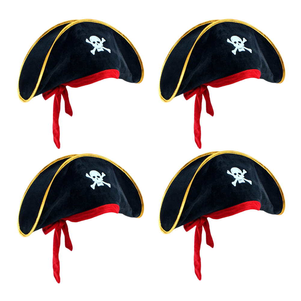 4Pcs Pirate Hat Classic Skeleton Printing Pirate Captain Costume Cap For Halloween Masquerade Party Hat Prop Party Dress Up #20