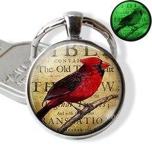 Glow In The Dark Cardinals Key Chain Rings Holder Luminous Bird Keychain Men Jewelry Gift