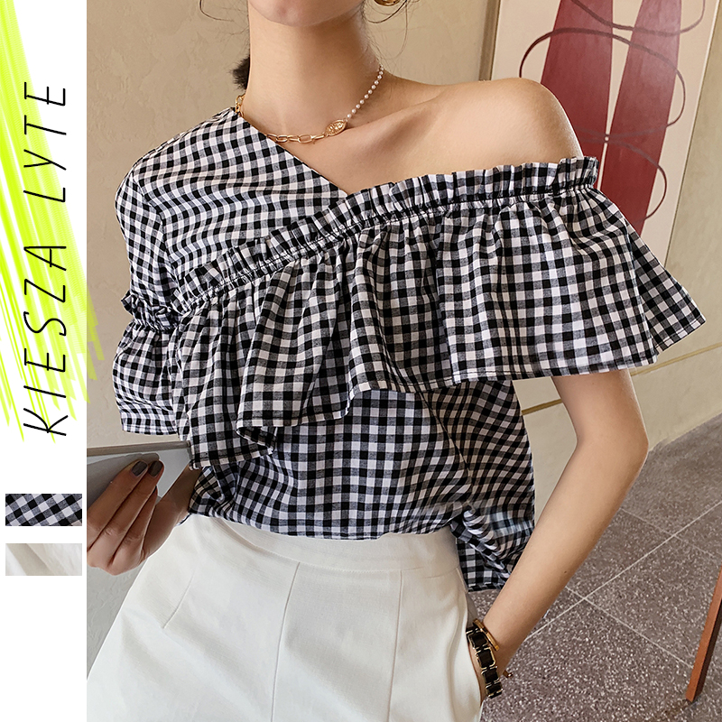 Women Blouse Tops Blue Plaid Solid White Patchwork Skew Neck Shirts Irregular Ruffles Casual Summer Tops 2020 Fashion