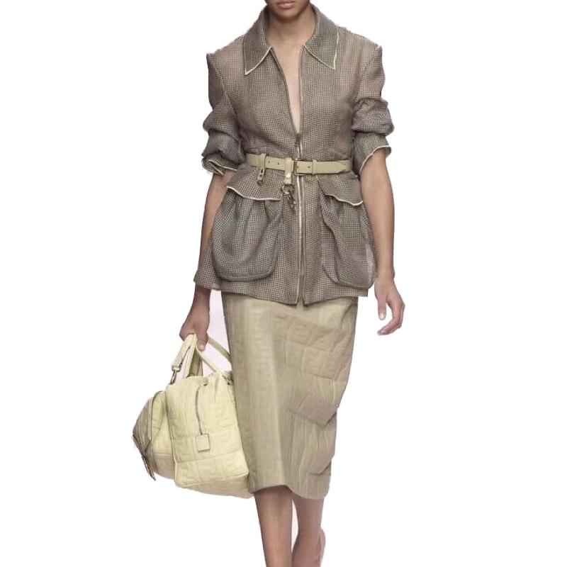 Kadın Giyim'ten Basic Ceketler'de EXCOSMIC Pist Kadın Ceket Uzun Kollu Casual Örgü Yüksek Kaliteli Tasarımcı Oymak Ceket Kemer Ile Büyük Cep Kısa Ceket'da  Grup 1