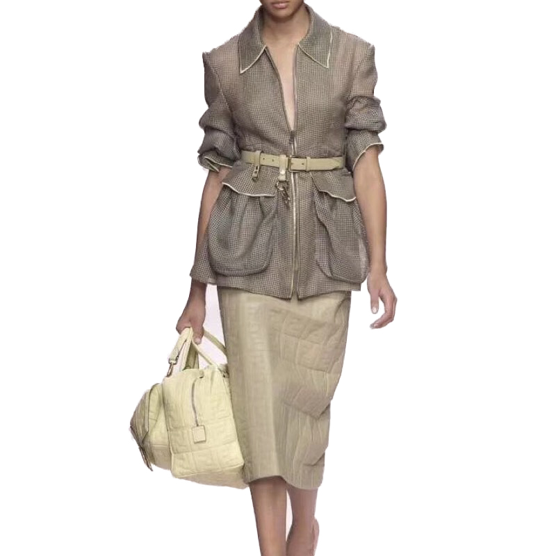 EXCOSMIC المدرج النساء سترة طويلة الأكمام عارضة شبكة عالية الجودة مصمم الجوف خارج سترة مع حزام كبير جيب معطف قصير-في السترات الأساسية من ملابس نسائية على  مجموعة 1