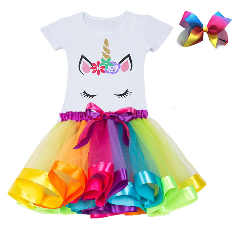 2019 Fashion Unicorn Dress for Girls Children's Clothes Kids Lace Dresses Baby Girls Costume Summer Sleeveless Princess Dress 4