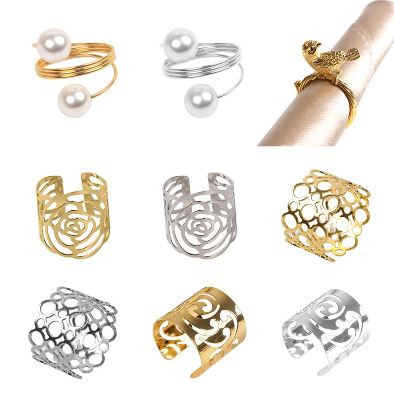 Wedding D/écor Family Gathering Dinner Party Pearls Napkin Rings Buckles Gold-12 PCS Silver Gold Serviette Buckle Holder for Xmas