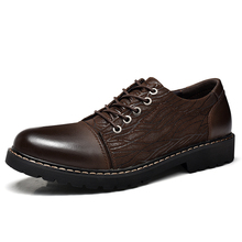 fashion England retro Men leather shoes Male boots Brand mens casual sneakers waterproof lace up Flats solid color *6789