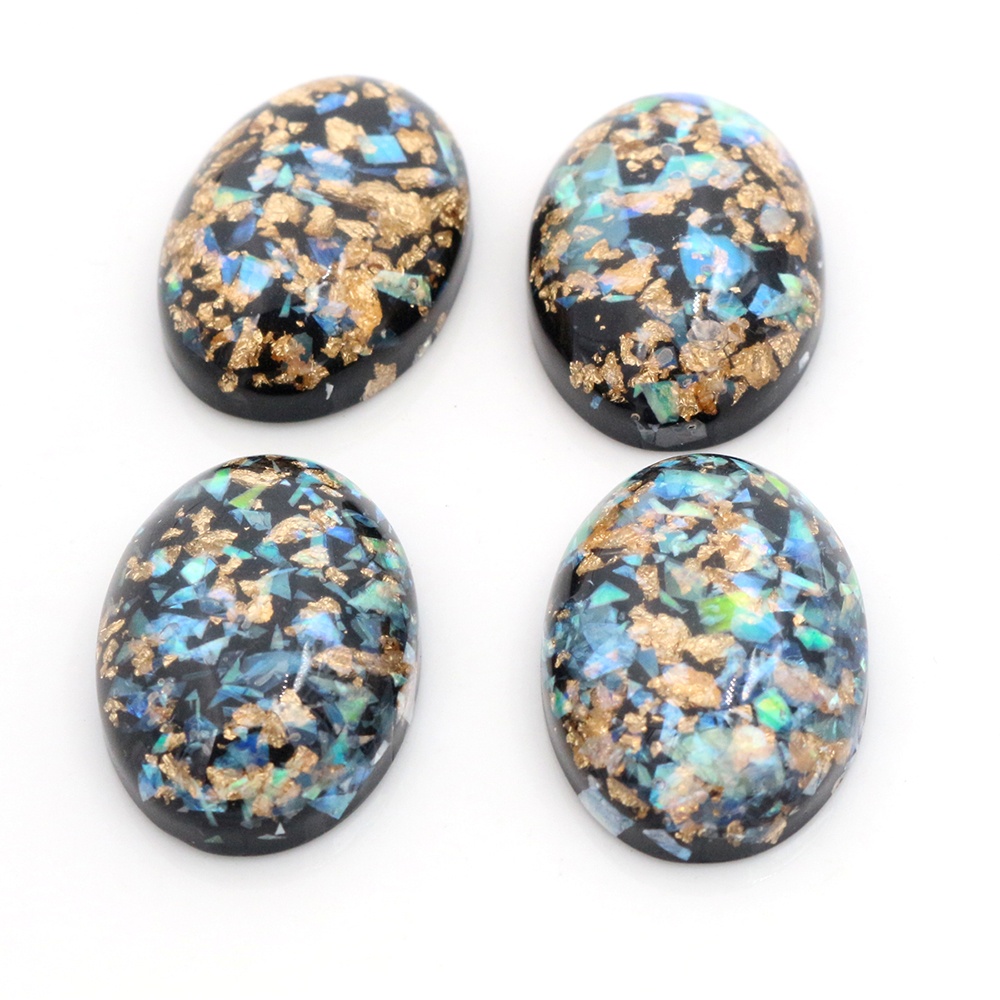 18x25mm 10pcs/Lot New Fashion Black Color Built-in Metal Foil Flat Back Resin Cabochons Cameo-V6-13