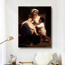 Canvas Art Oil Painting《Mother and son》Bouguereau Famous Poster Picture Wall Decor Modern Home Decoration For Living room Office