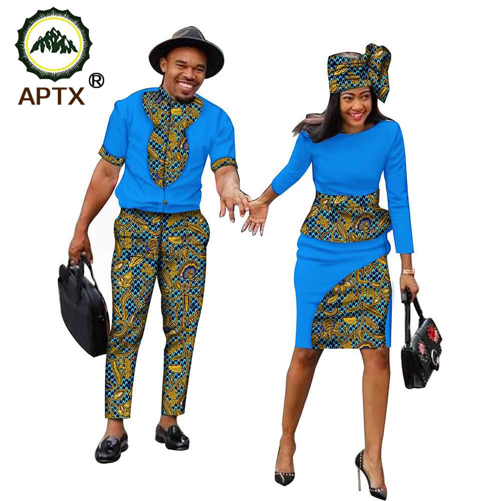 African Couple Clothes Women Suit Dress with Scarf +Men Set T-Shirt and Pant Wax Print Ankara Casual 100% Cotton Material S19