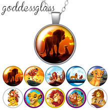 Pendant Necklace Jewelry Glass Cabochon Movie Lion-King Family Gift Forest Round The