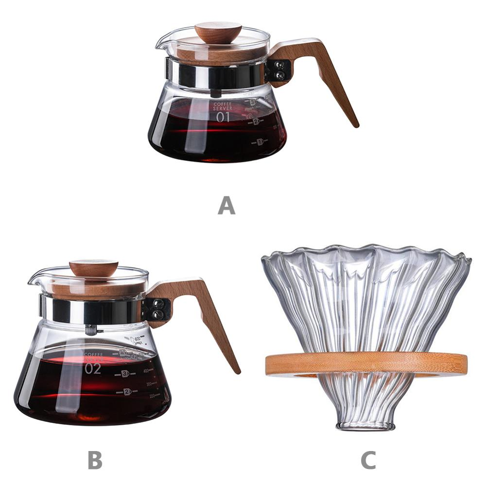High Borosilicate Glass Hand Coffee Pot Temperature Resistant Wooden Handle Filter Brewer