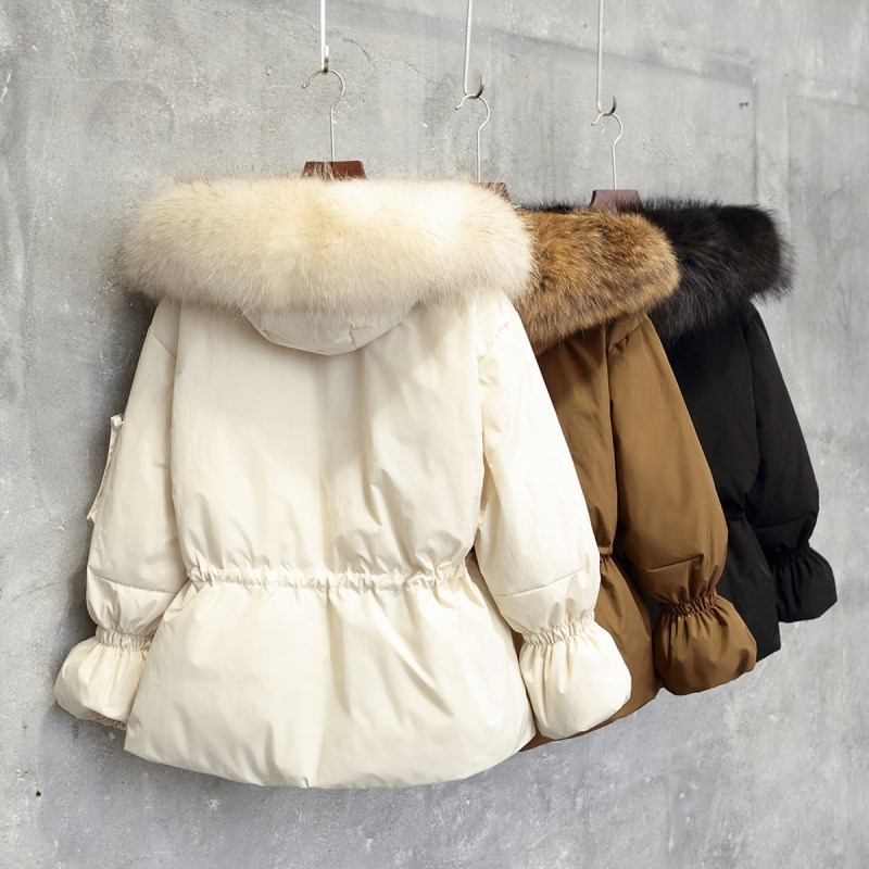 95% Duck Down Jackets Female Autumn Winter Warm Raccoon Fur Long Hood Coat Women Down Casual Basic Jacket Parkas LX2259
