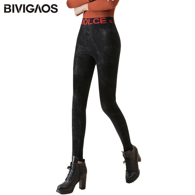 BIVIGAOS 2019 New Red Letters Comfortable Snow Leather Leggings Women Fall Winter Slim Skinny Pencil Pants Warm Magic Pants