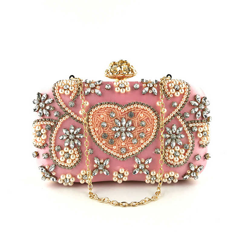 Mulheres Rhinestone saco de Embreagem pequena Fêmea Bolsas Wedding Party Nupcial Frisada Rosa do Amor Diamante Evening Bag ladies Clutch purse