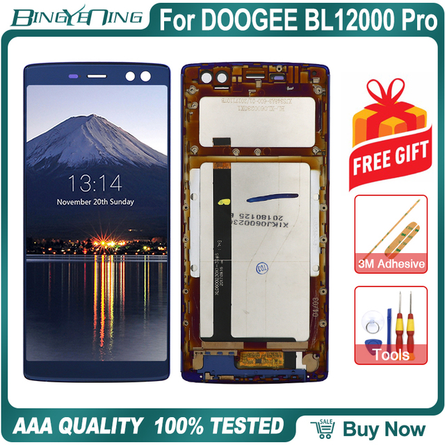 100% Original For DOOGEE BL12000 Pro LCD&Touch screen Digitizer with frame display Screen module Repair Replacement Accessories