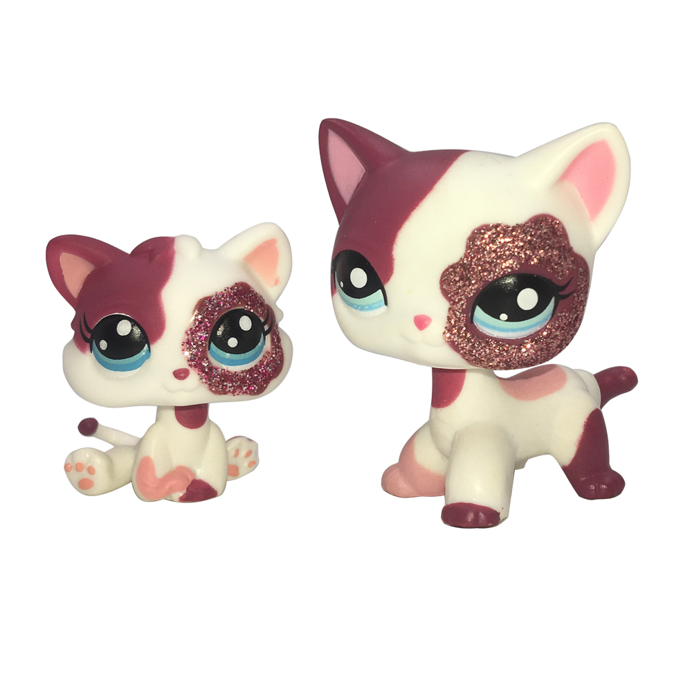 <font><b>LPS</b></font> <font><b>CAT</b></font> LPSCB Custom-Made <font><b>Baby</b></font> With Old Pet Shop Toys Standing Short Hair <font><b>Cat</b></font> #2291 White Pink Glitter Kitty image