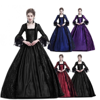 Halloween Women Victorian Medieval Queen Cosplay Costume Masquerade Vitch Vampire Black Gothic Lace Stitching Long Court Dress