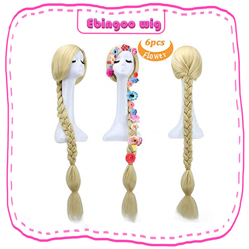 Ebingoo Hair Cap+Natural Long Straight Braided Blonde Princess Rapunzel Tangled Synthetic Halloween Cosplay Costume Women Wig
