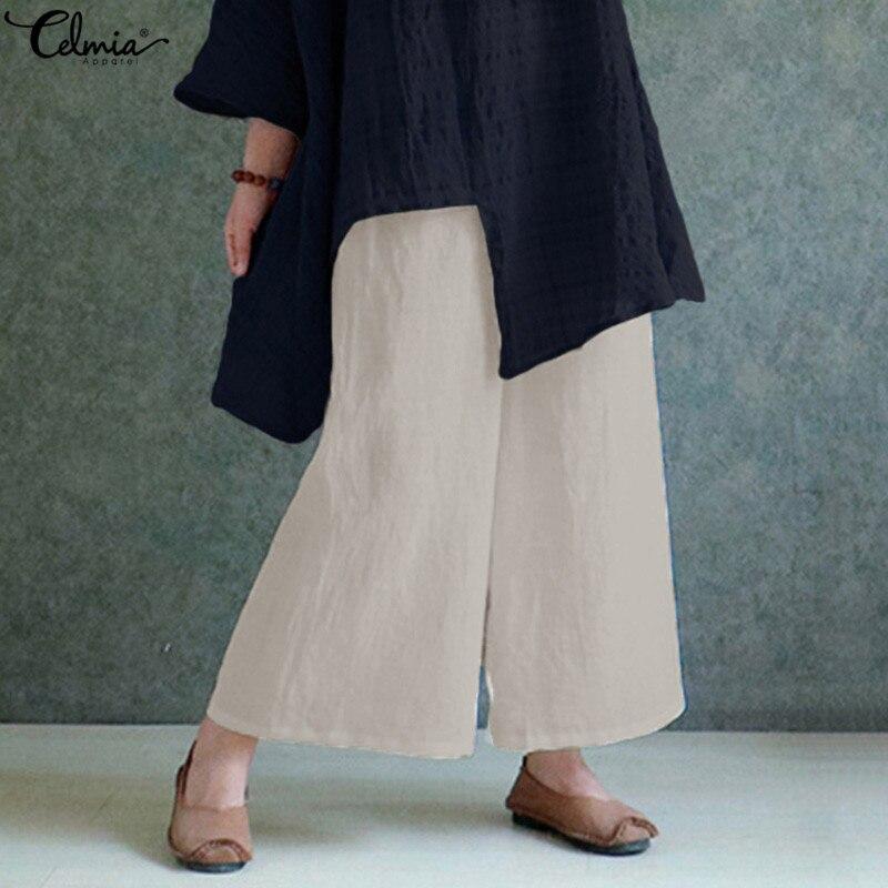 Fashion Women Wide Leg Pants 2020 Celmia Vintage Summer Casual Long Trousers Loose Elastic Waist Solid Linen Plus Size S-5XL