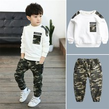 Outfit Teenager Tracksuit Pants Tops Sport-Clothing-Sets 2pcs-Kit Boys Kids Camouflage