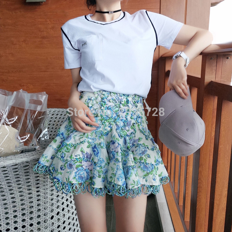 Mini-Skirt Laced Linen Floral-Print Elfstyle Skirt-Azure Summer New with Handcrafted