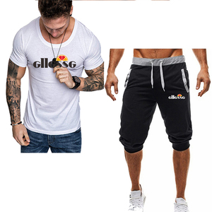 Image 5 - Summer Two Pieces Sets Mens Casual Tracksuit Brand Men Print Sportswear T Shirts Sets mens t shirt+shorts Fitness Gym Suits