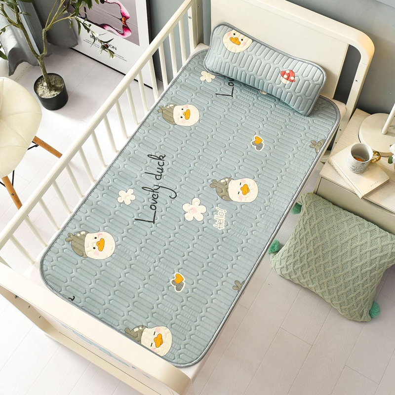 120X60cm Insular Baby Summer Sleeping Mat with Pillow Anti-Skid Latex Cool Mat Soft Summer Sleeping Cover Baby Bed