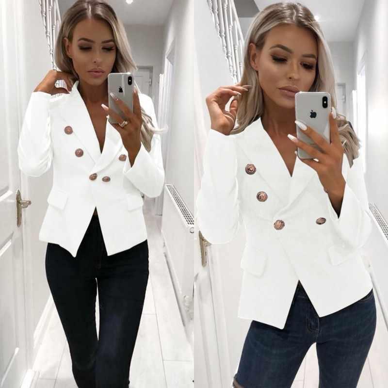 春の女性のブレザー 2019 ファッションダブルブレストスリムブレザー女性のスーツのジャケットピンク女性プラスサイズブレザーファム Okd862