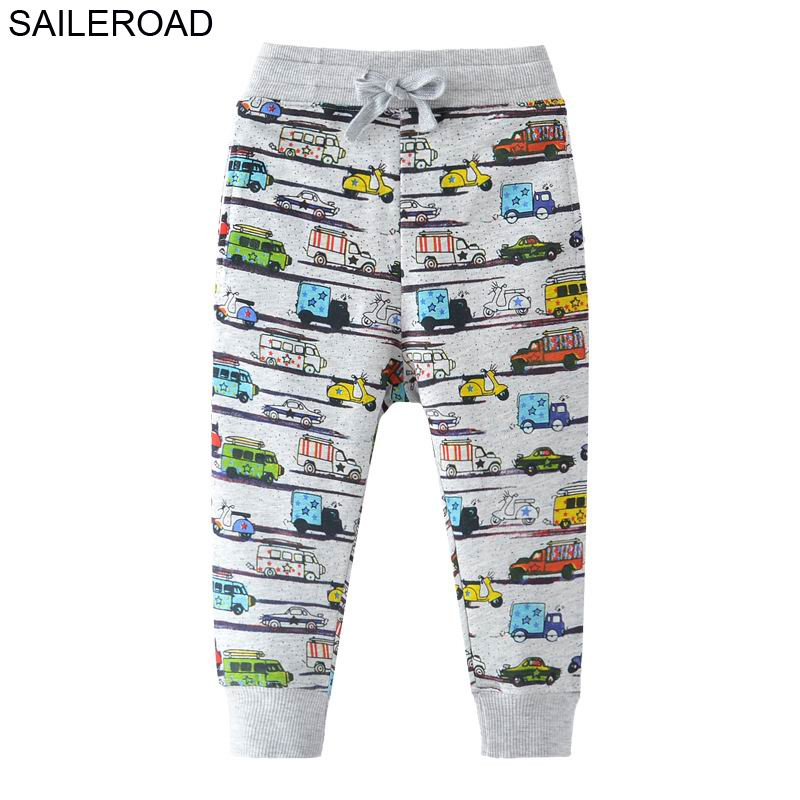 SAILEROAD 2-7Years Cartoon Car Pattern Boys Full Length Pants Spring Autumn Baby Kids Casual Pants Cotton Children Boy's Trouser 1