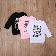 Baby Letter Print Sweatshirt Boys Girls Long Sleeve O-neck Pullover Casual Loose Fit Hoodies Tops for Spring Autumn 0-4T