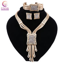 CYNTHIA Dubai Bridal Jewelry Sets for Women Gold Necklace Earrings Set Fashion Charm African Wedding Nigeria Jewelry Sets(China)