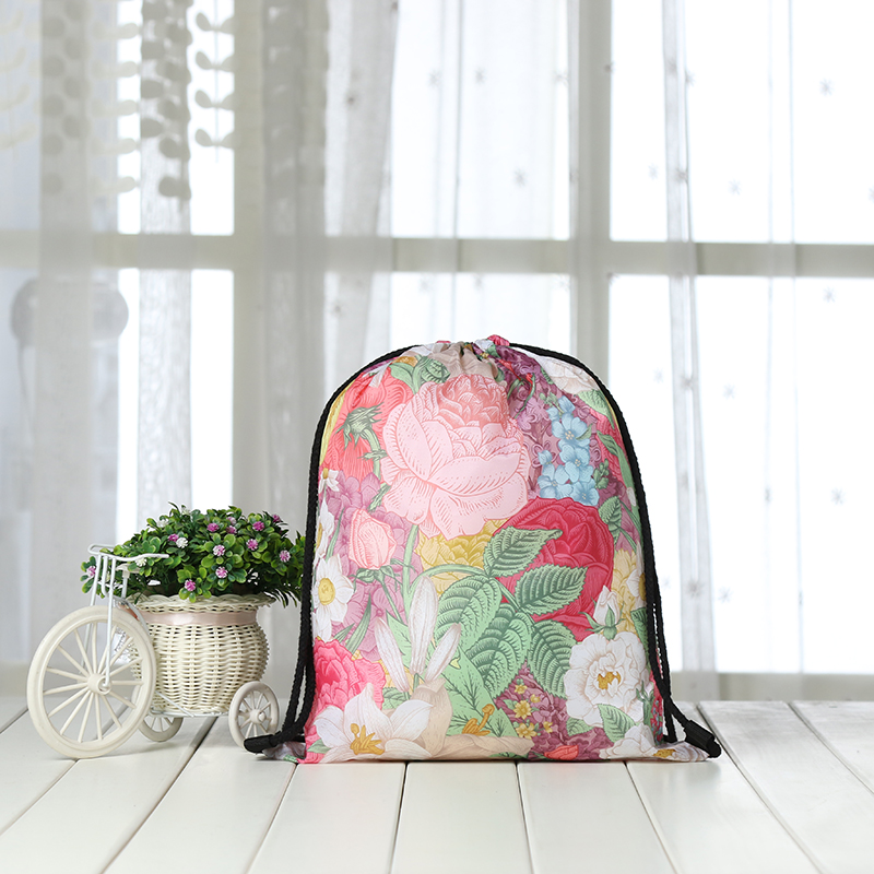 Drawstring Backpack Fashion Women 3D Printing  Knapsack Men Casual Bags Women's Shoulder Student Rose FLOWER Bag Factory New Red