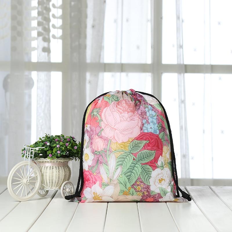 Drawstring Backpack Fashion Women 3D Printing  Knapsack Men Casual Bags Women's Shoulder Student Rose FLOWER Bag Factory New Red